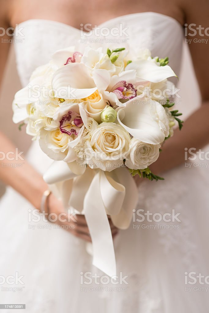 Close-up of a beautiful wedding bouquet of flowers stock photo
