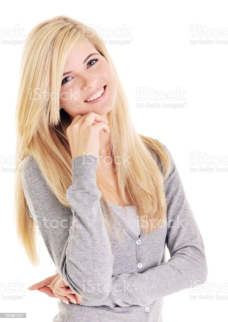 Close-up of a beautiful young smiling woman on white background royalty-free stock photo