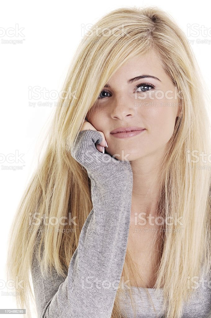 Close-up of a beautiful young woman on white background royalty-free stock photo