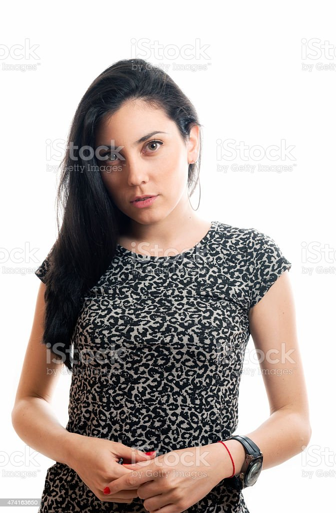 Close-up of a beautiful young woman stock photo