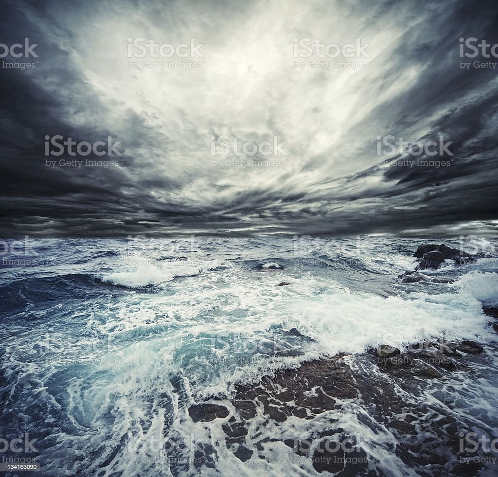 Close-up of a big storm in the ocean stock photo