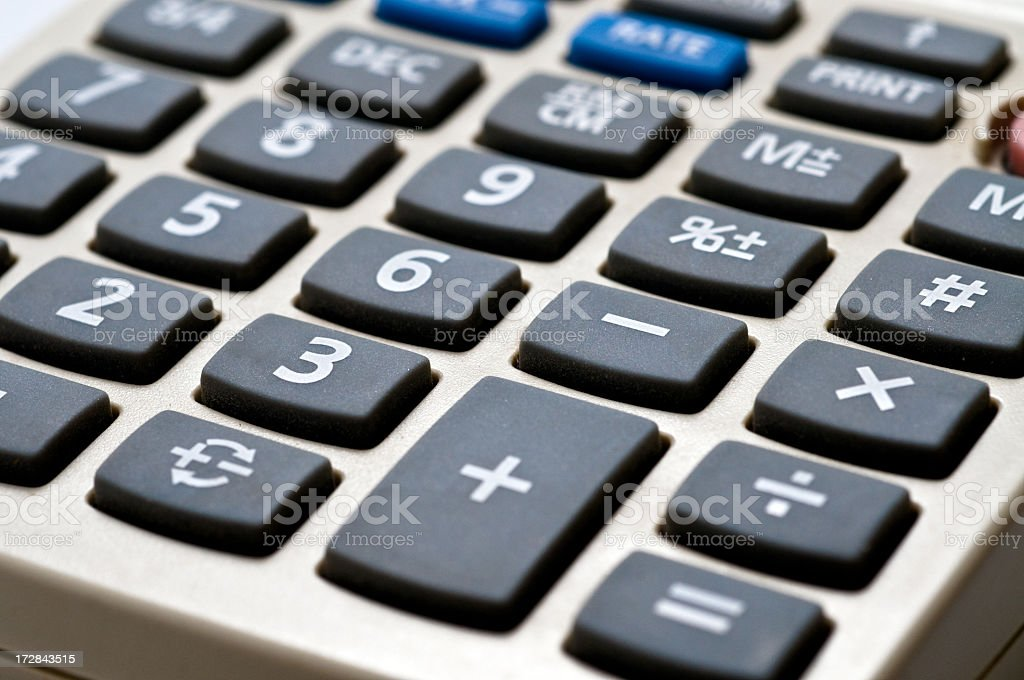 Close-up of a black and gray calculator  royalty-free stock photo