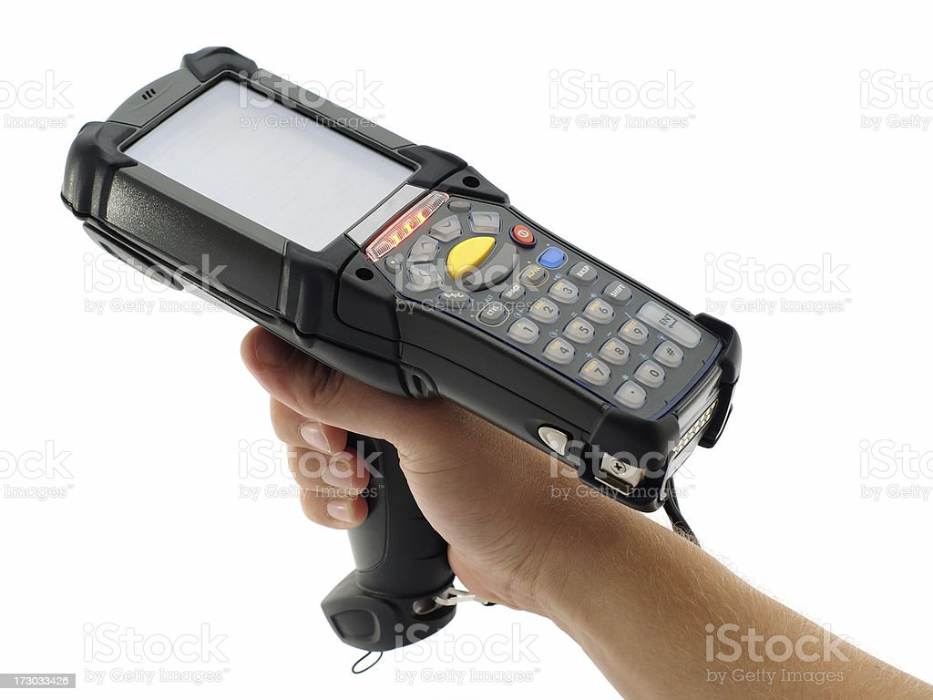 Close-up of a black bar code scanner being held royalty-free stock photo