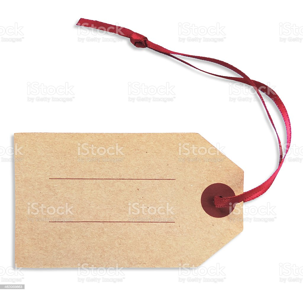 Close-up of a blank gift tag with red ribbon over white stock photo