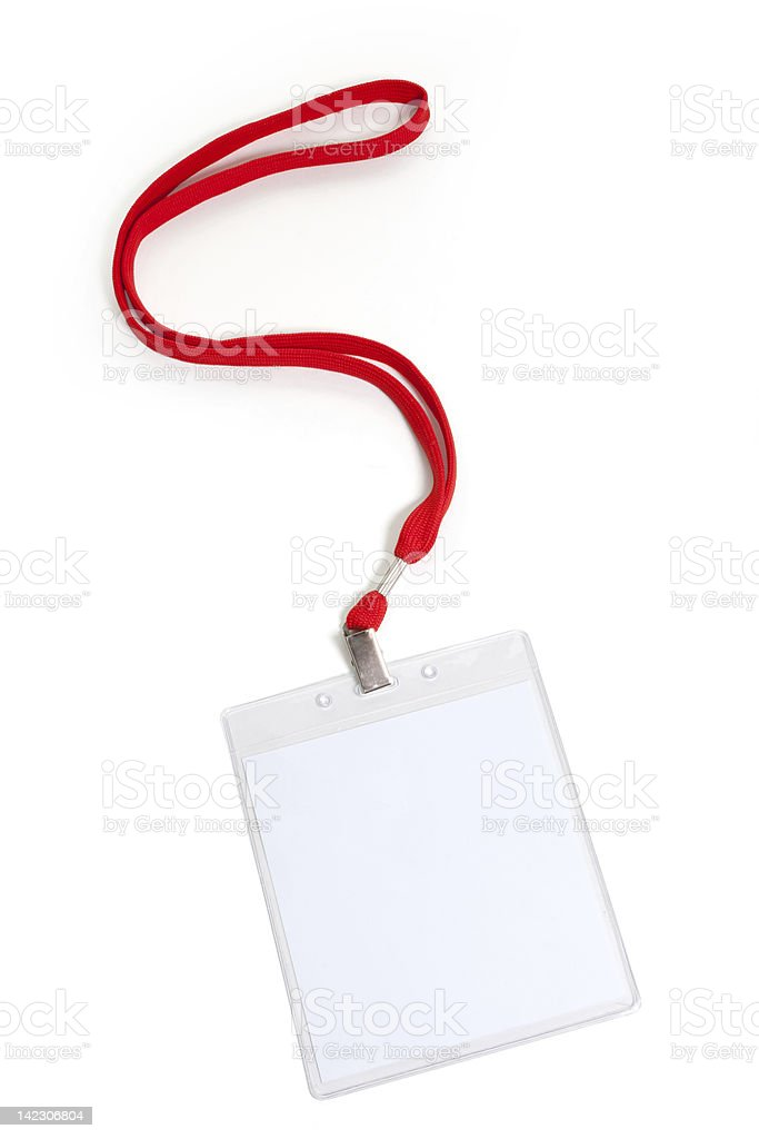 Close-up of a blank name tag with red lanyard royalty-free stock photo