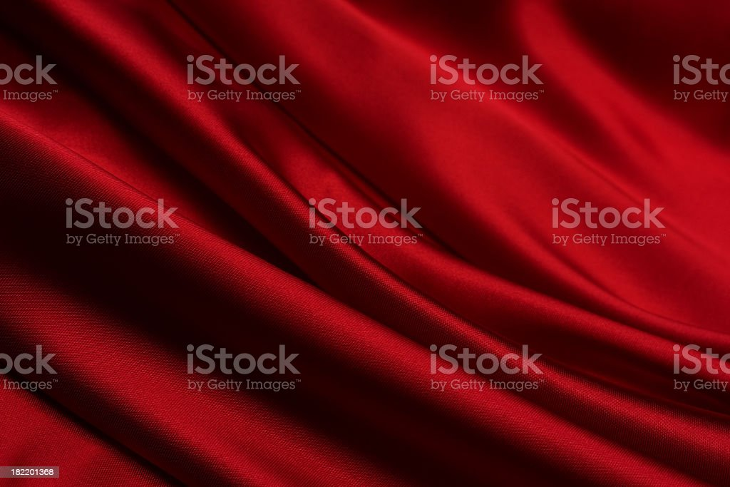 Close-up of a blood red satin fabric stock photo