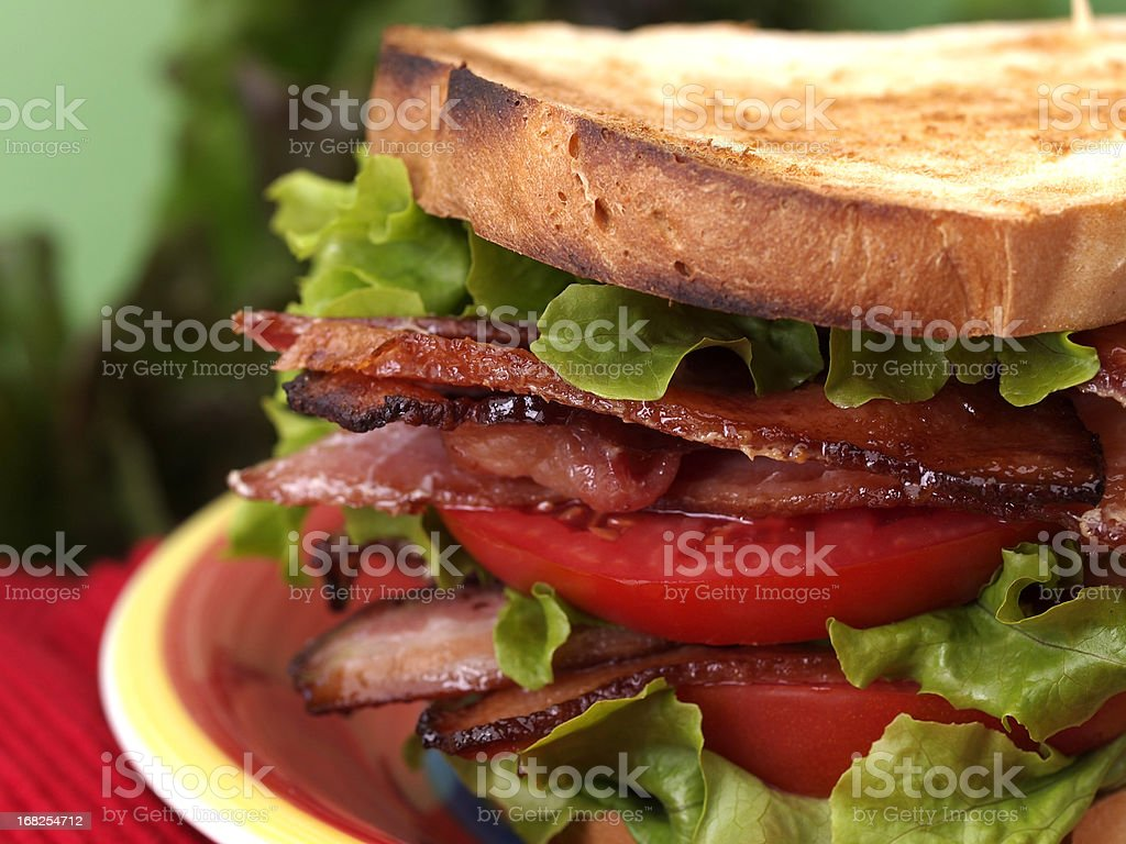 Close-up of a BLT sandwich on toast stock photo