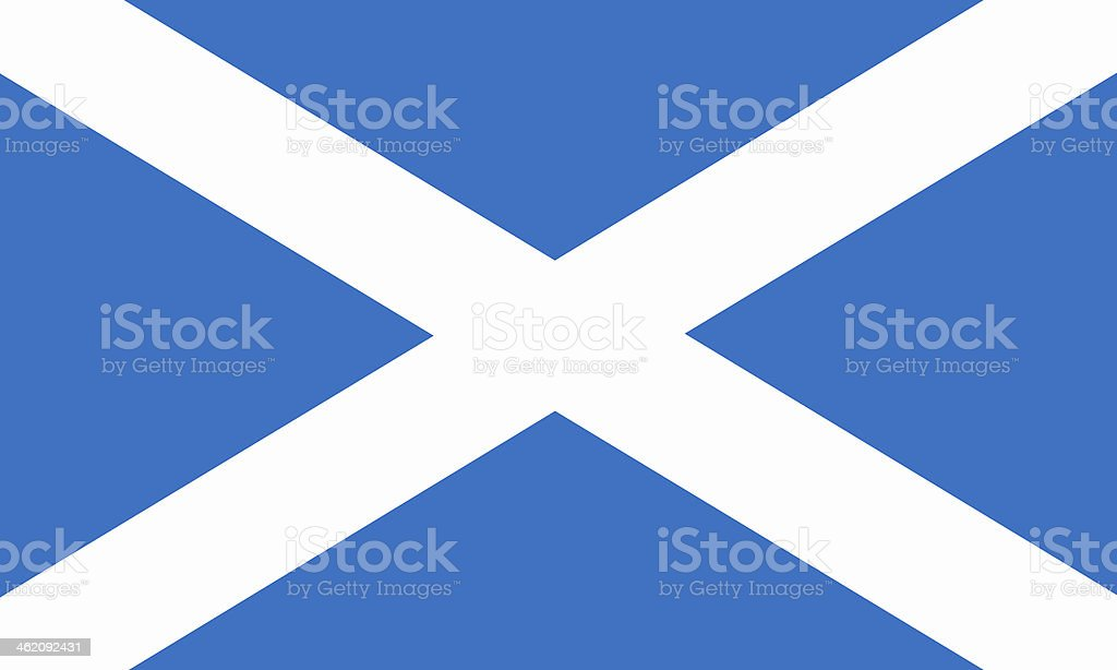 A close-up of a blue and white Scottish flag stock photo