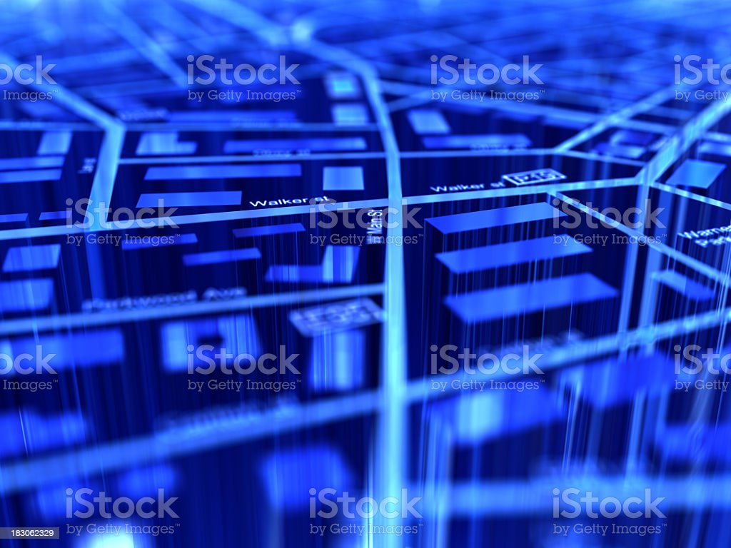 Close-up of a blue digital GPS map stock photo