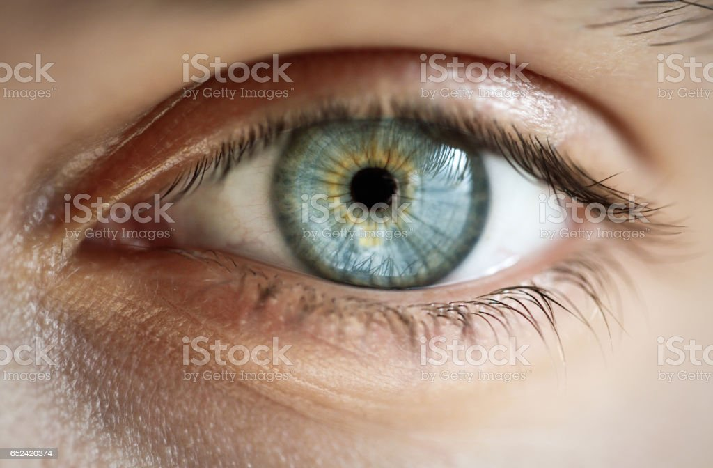 Close-up of a blue eye with no makeup stock photo