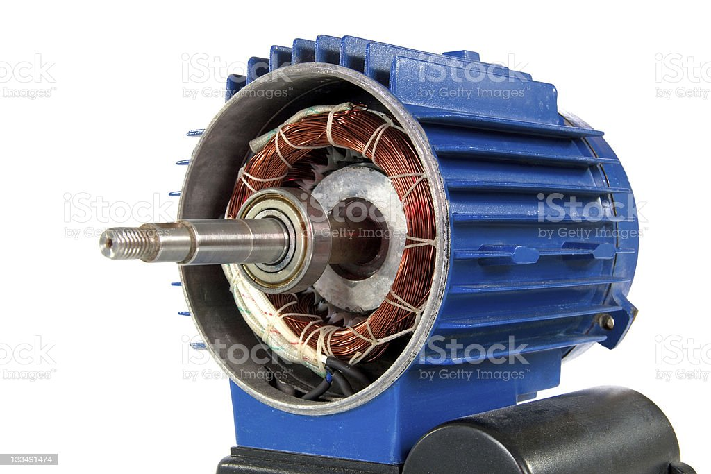 Close-up of a blue motor on a white background stock photo