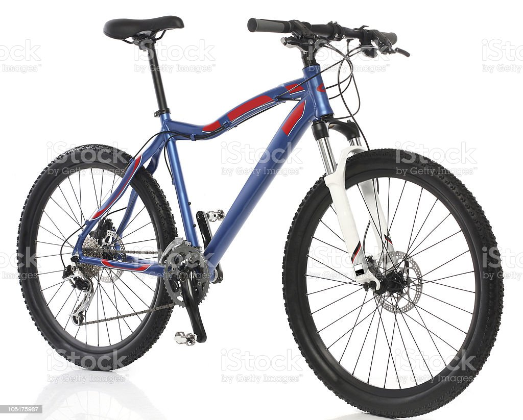 Closeup of a blue mountain bicycle stock photo