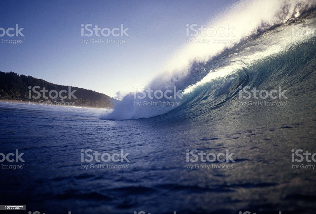 Close-up of a blue ocean wave right before cresting at dusk royalty-free stock photo