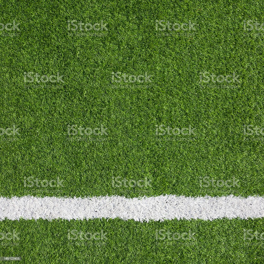 Close-up of a boundary line on a soccer field stock photo