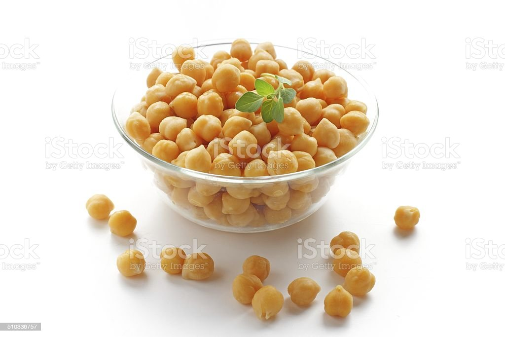 closeup of a bowl with boiled chickpeas stock photo