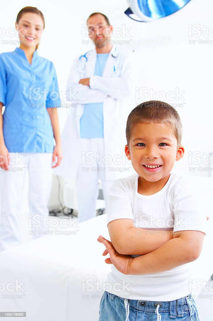 Close-up of a boy smiling in hospital royalty-free stock photo