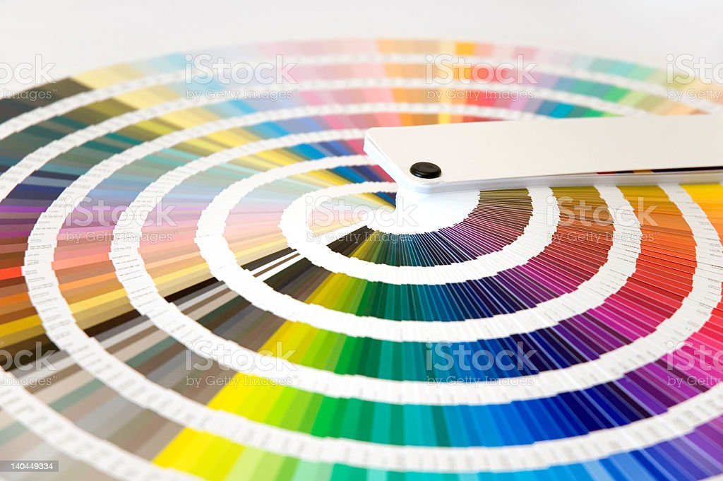 A close-up of a brightly colored color wheel stock photo