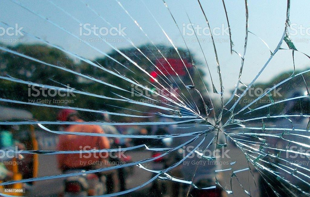 Closeup of a Broken glass stock photo