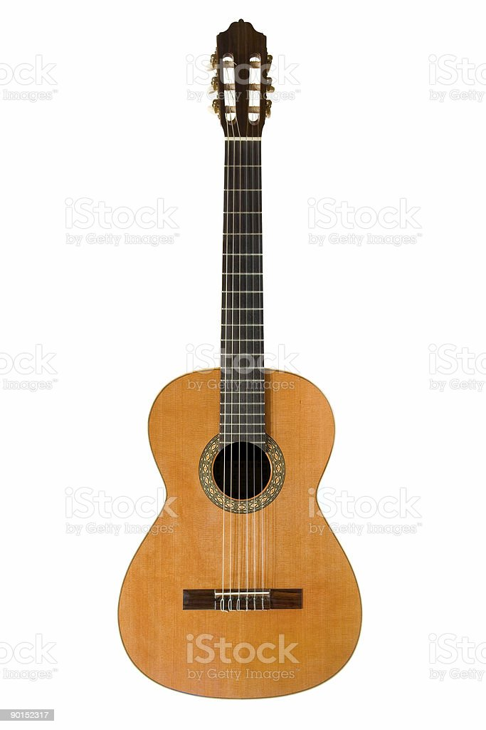 Close-up of a brown classical acoustic guitar royalty-free stock photo