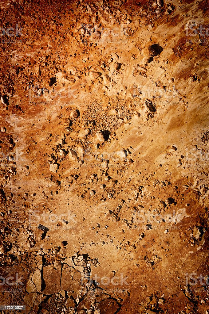 A close-up of a brown, dry ground stock photo