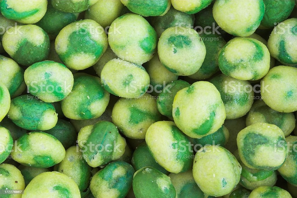 Closeup of a Bunch of wasabi peas royalty-free stock photo
