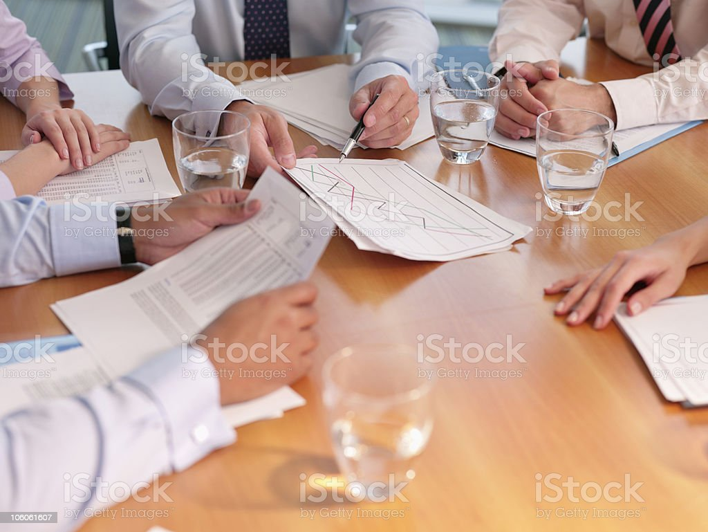 Close-up of a business meeting at conference table stock photo