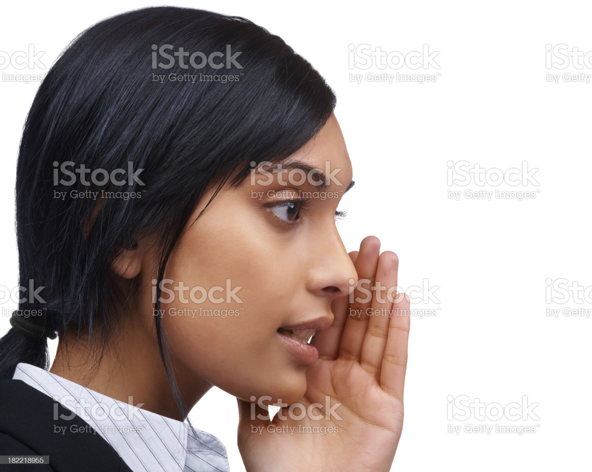 Closeup of a business woman whispering royalty-free stock photo