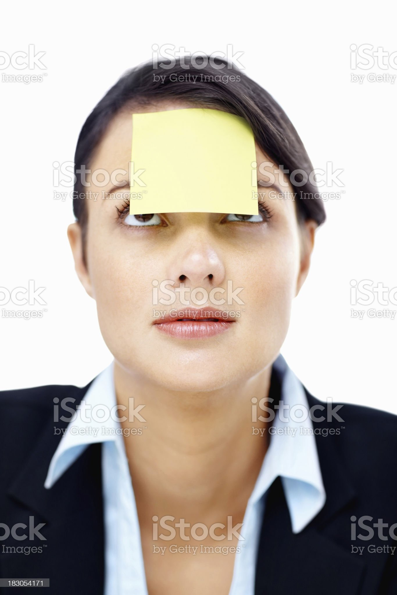 Closeup of a business woman with an adhesive note royalty-free stock photo