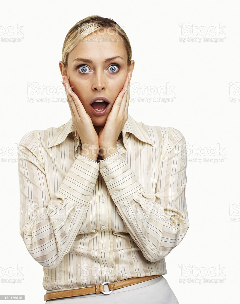 Close-up of a businesswoman looking shocked royalty-free stock photo