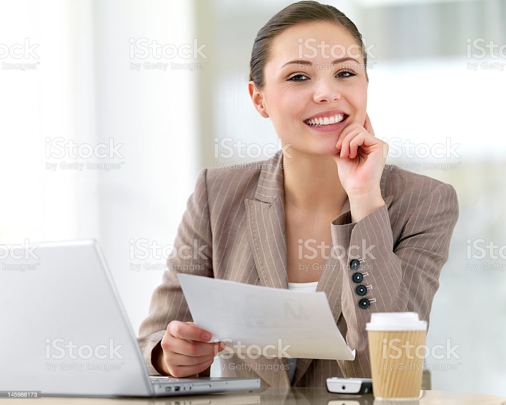 Close-up of a businesswoman smiling royalty-free stock photo