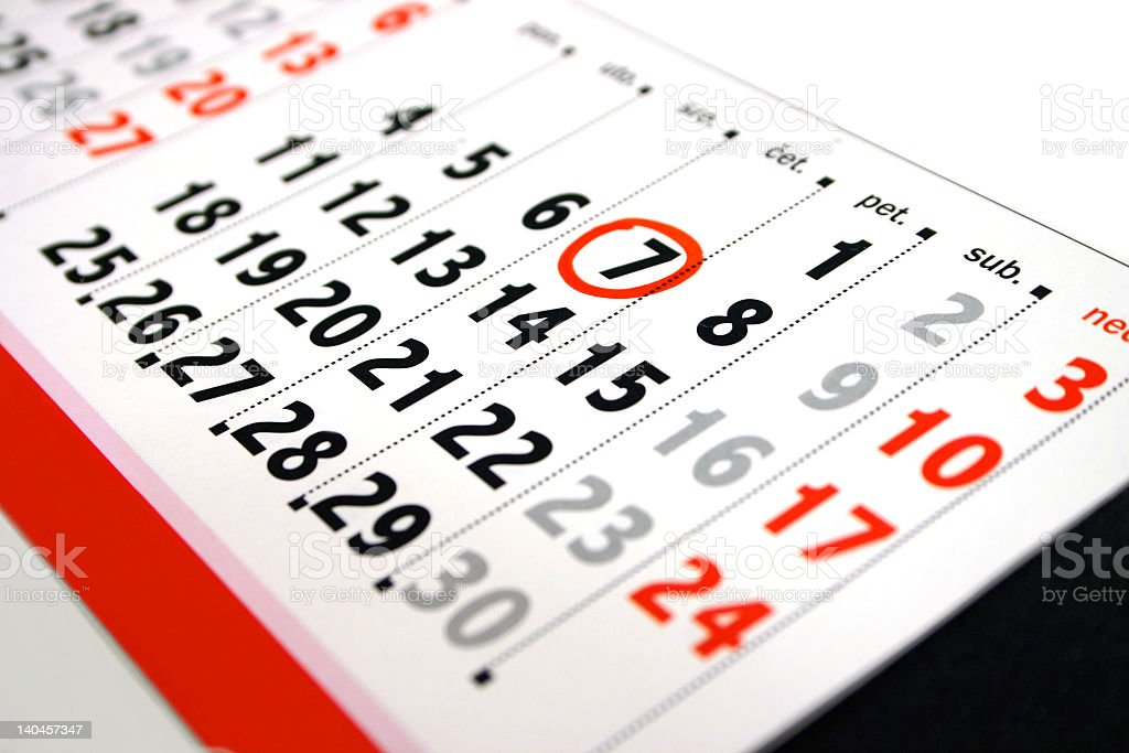 Closeup of a calendar with the seventh marked royalty-free stock photo