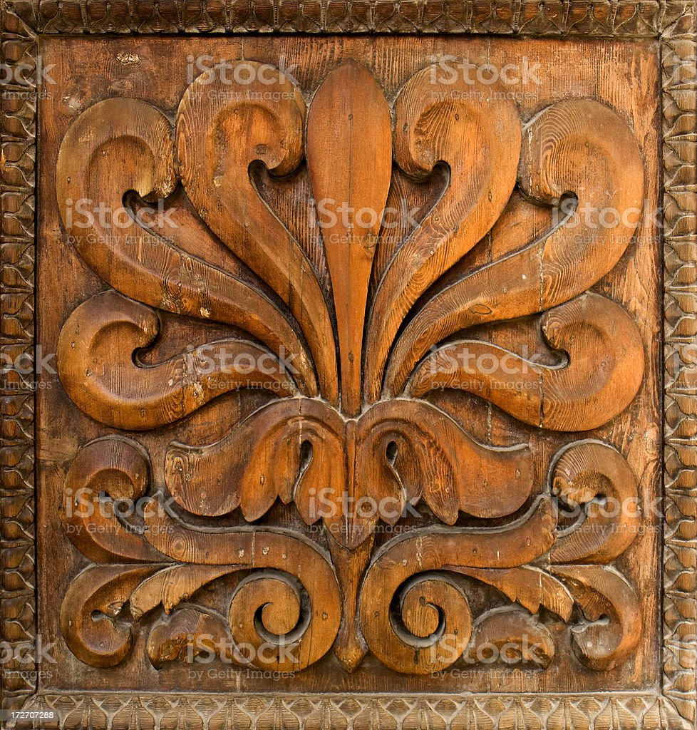 Close-up of a Carved Wood Panel stock photo