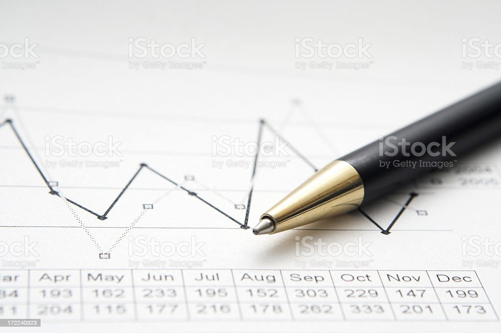 Closeup of a chart with ballpoint pen royalty-free stock photo