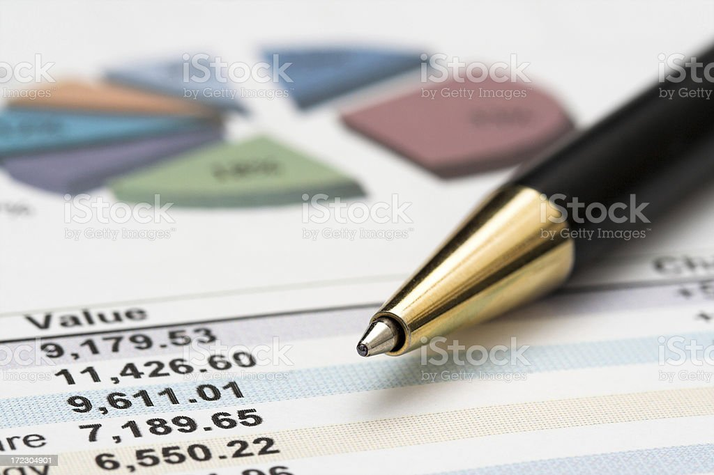 Closeup of a chart with black pen royalty-free stock photo