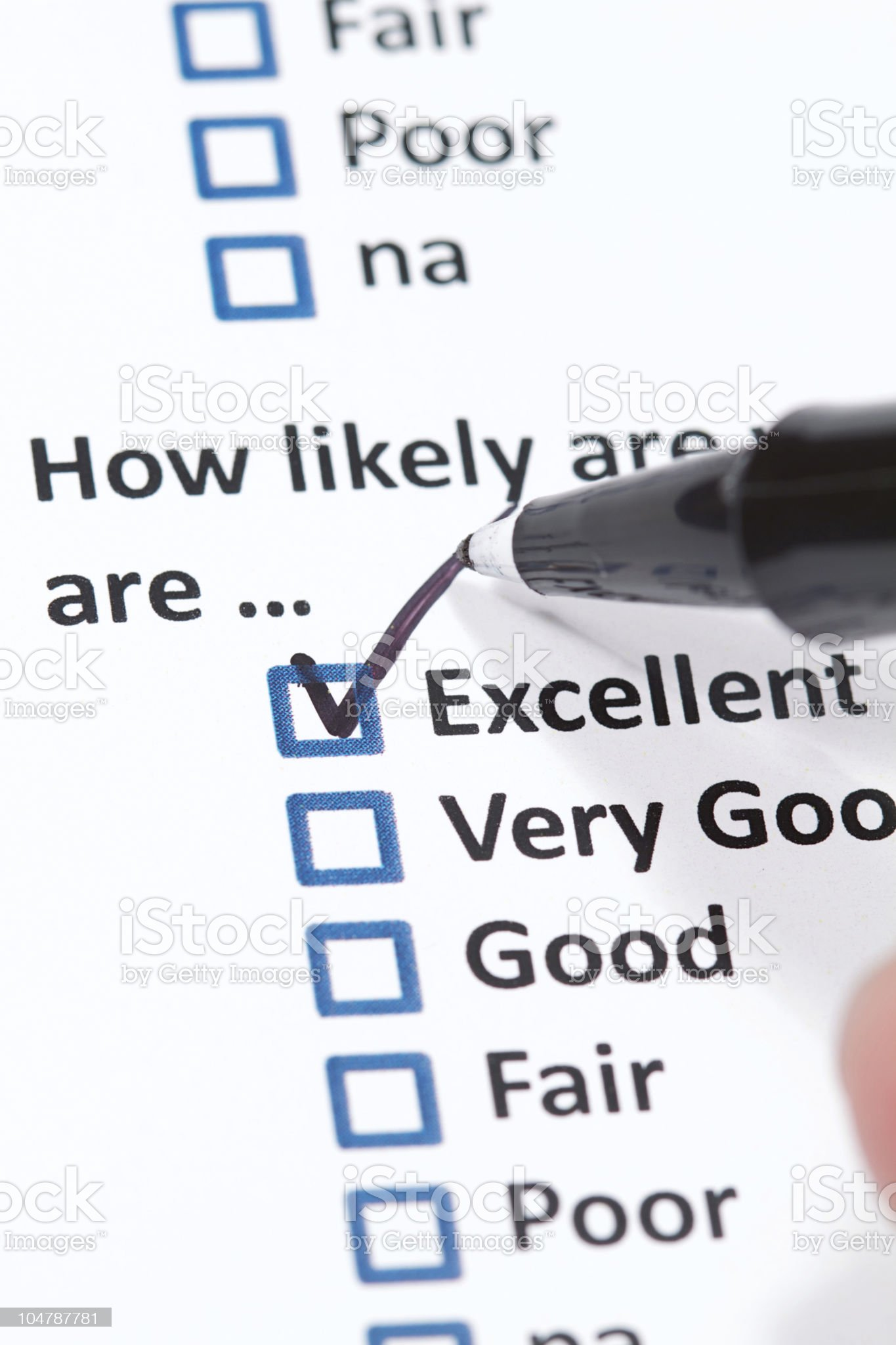 Close-up of a checklist with a pen drawing a tick royalty-free stock photo