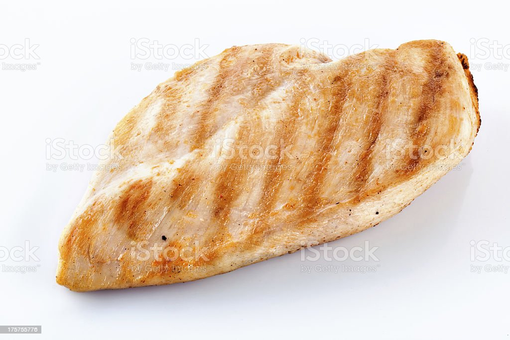 Close-up of a chicken fillet isolated on a white background stock photo