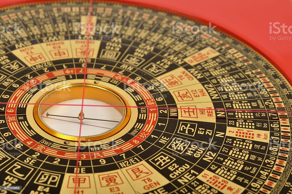 Close-up of a Chinese Feng Shui compass stock photo