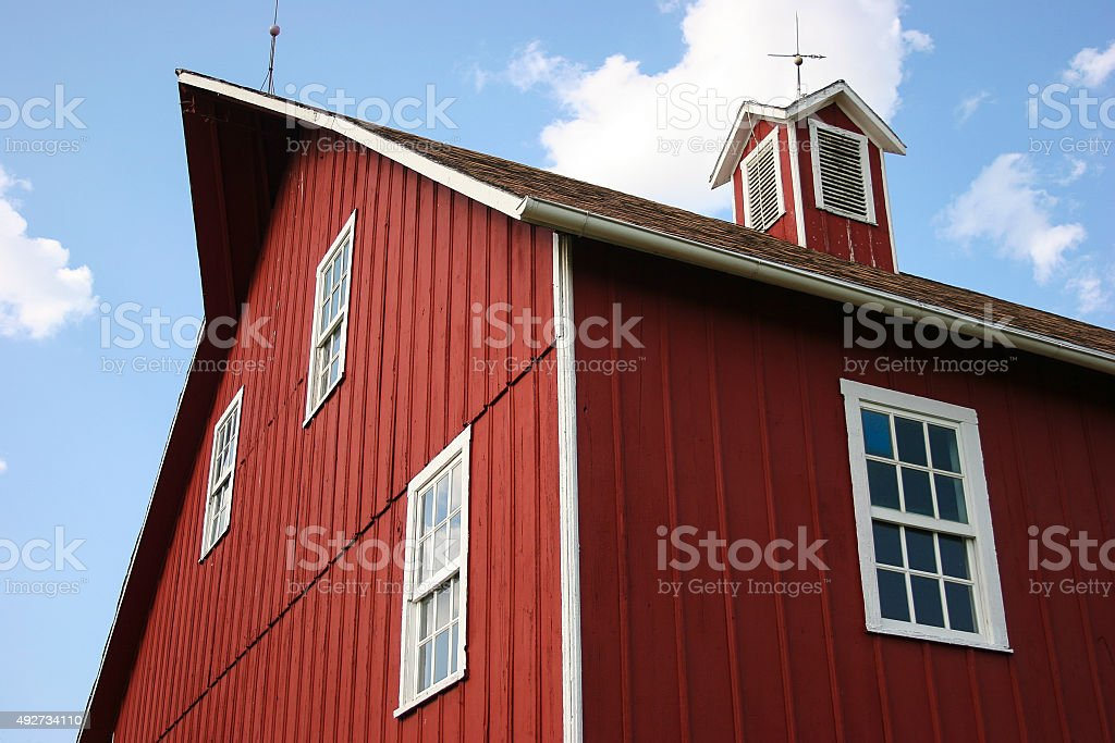 Closeup of a Classic Iowa Red Barn stock photo
