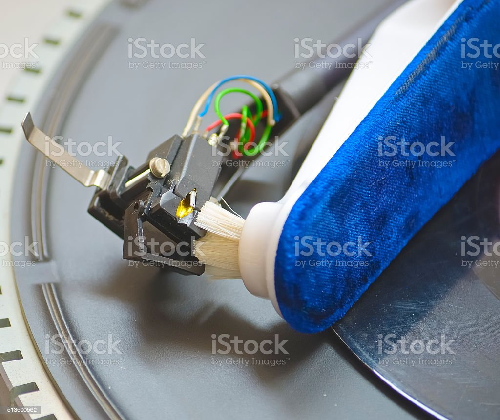Close-up of a cleaning cartridge stylus turntable stock photo