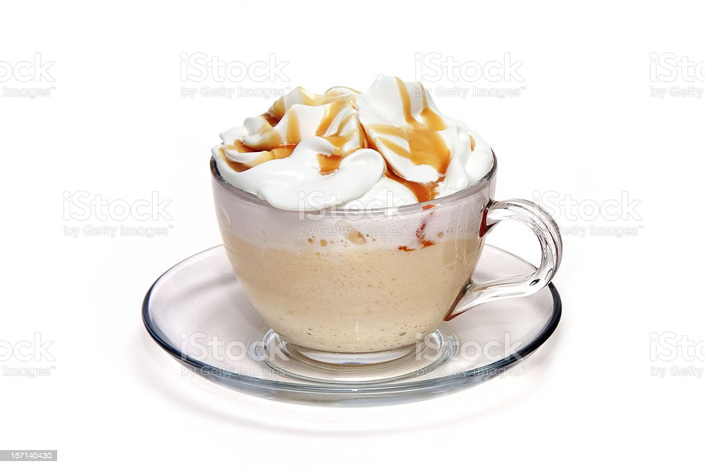 A close-up of a coffee cocktail in a clear class cup stock photo
