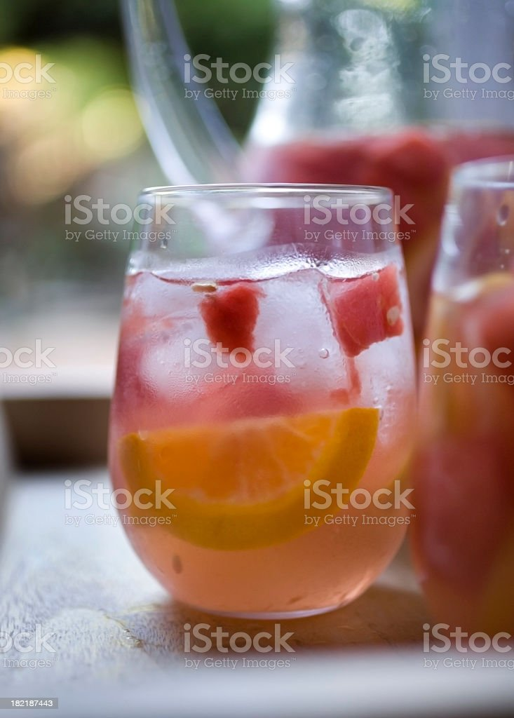 A closeup of a cold glass of freshly poured sangria stock photo