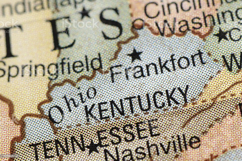 Close-up of a colored map centered on Kentucky stock photo