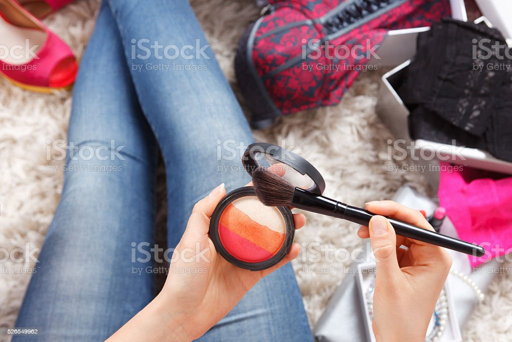Close-up of a colorful makeup blush stock photo