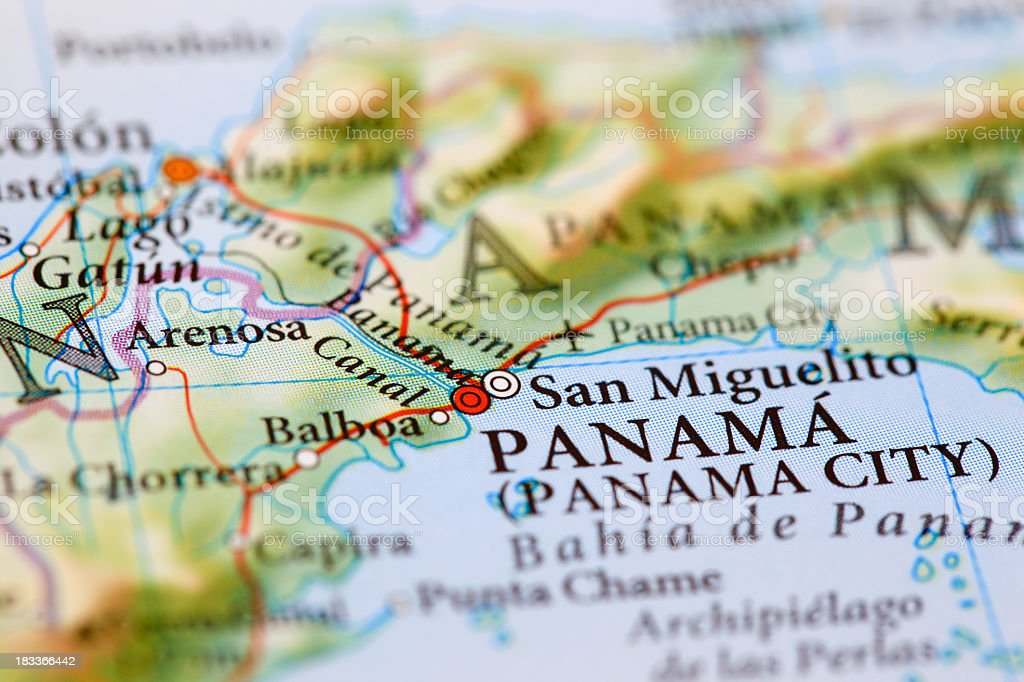 Close-up of a colorful map of Panama royalty-free stock photo