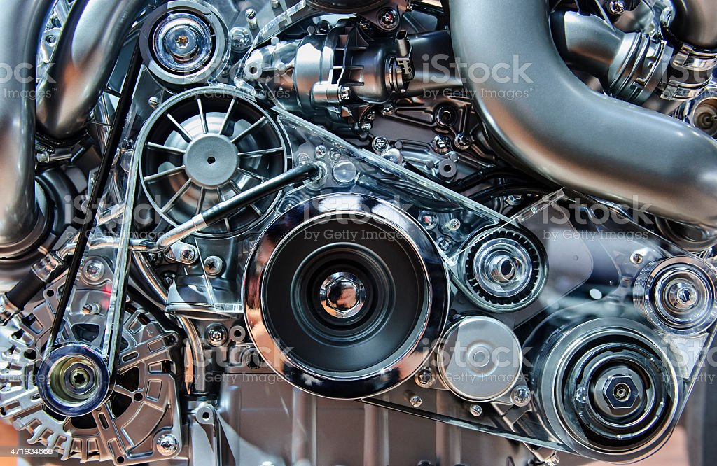 Close-up of a complex internal combustion engine stock photo