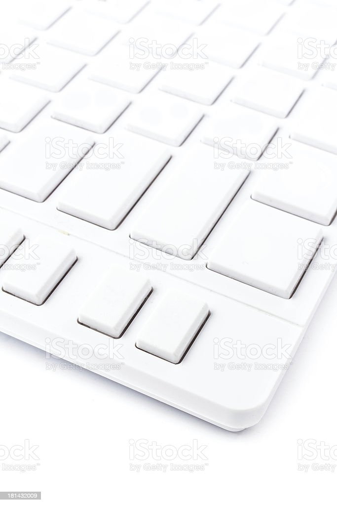 Closeup of a computer keyboard with blank keys. White royalty-free stock photo