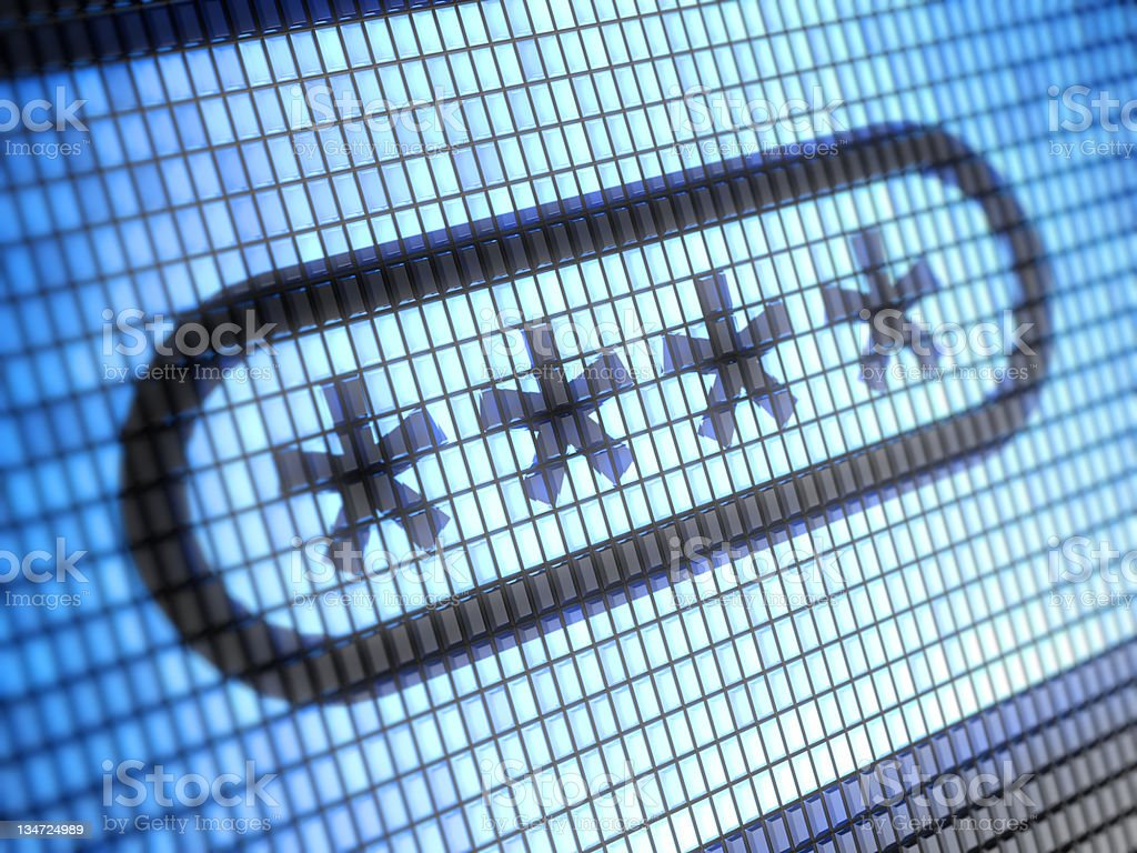 A close-up of a computer showing a four digits password royalty-free stock photo