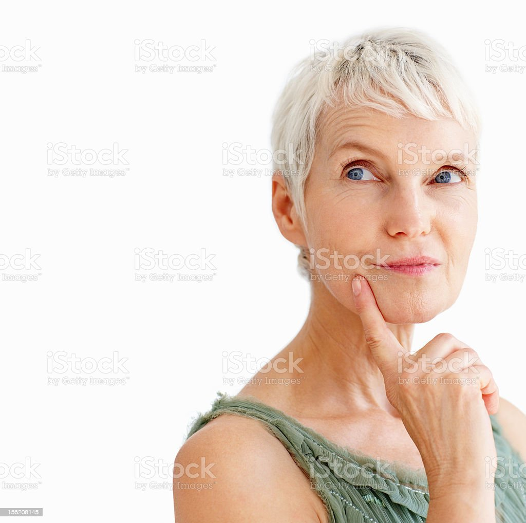 Close-up of a contemplative senior lady stock photo