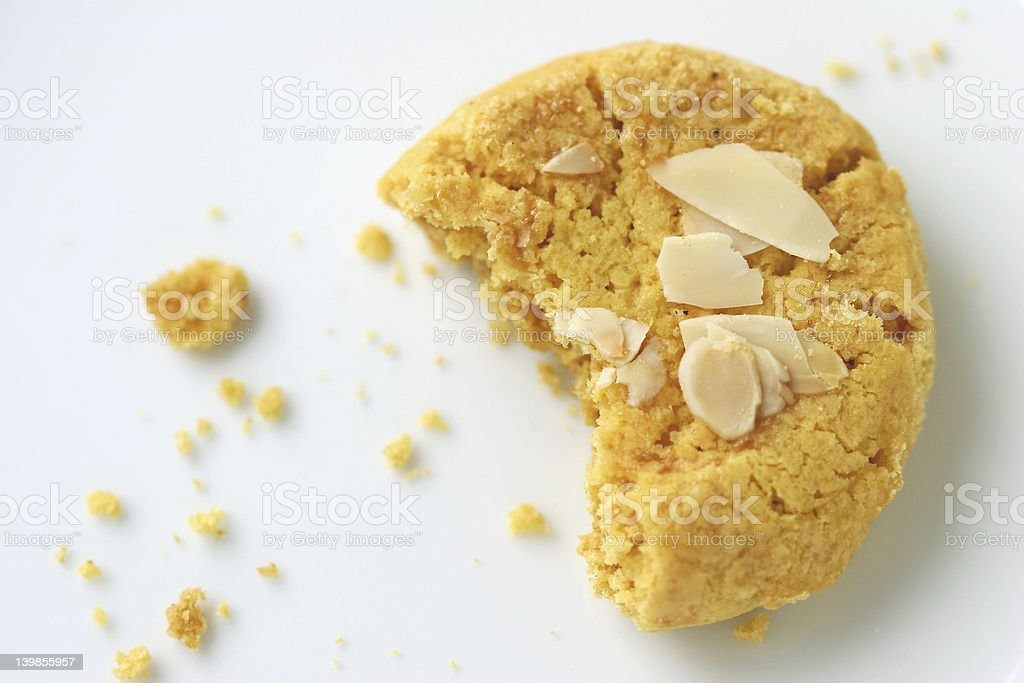 Close-up of a cookie and crumbs stock photo