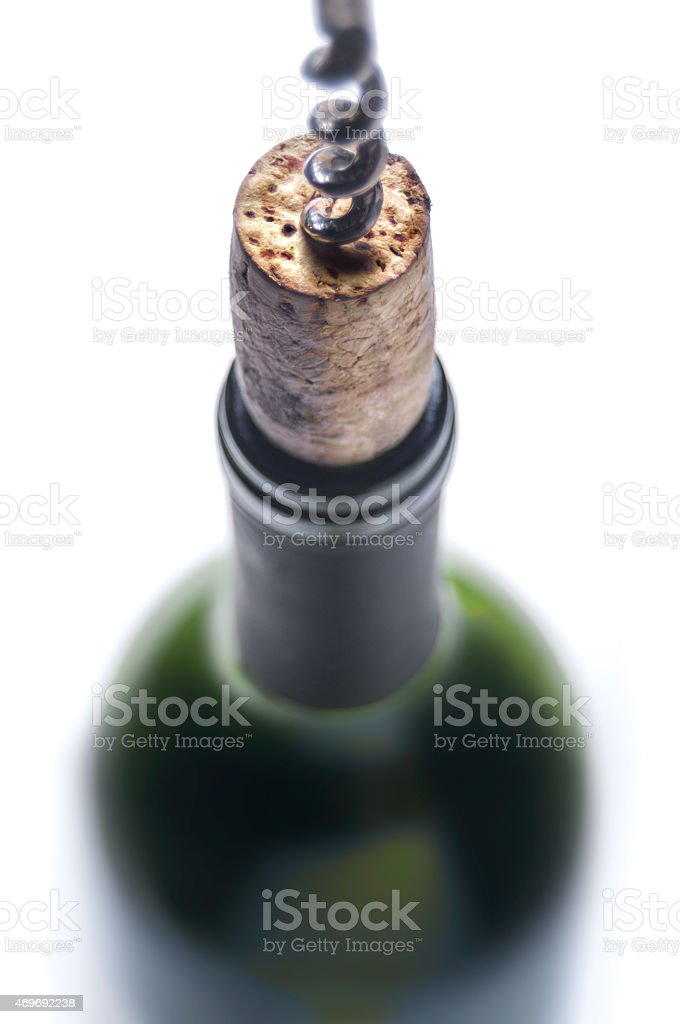 Close-up of a cork in a wine bottle stock photo